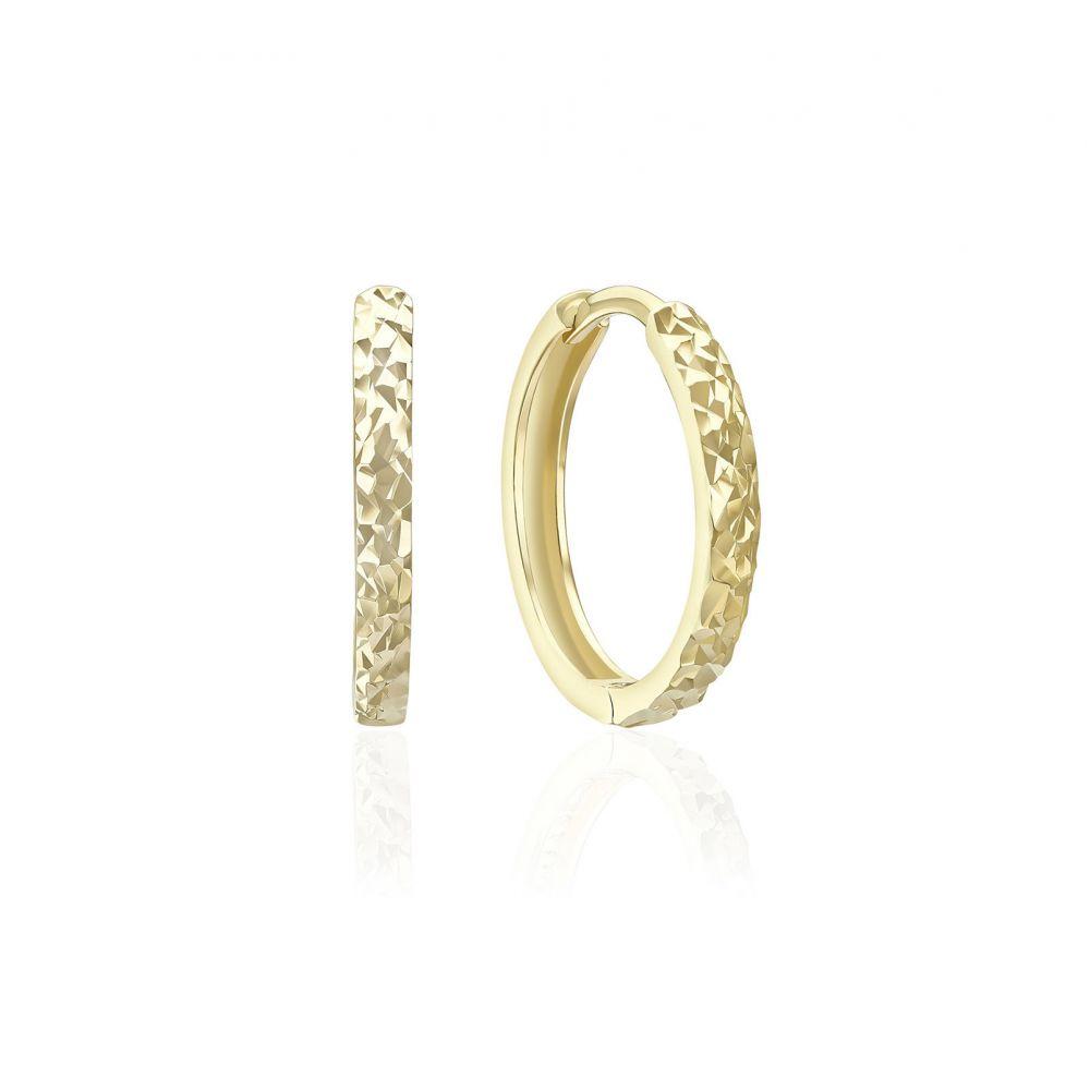עגילי זהב | עגילי חישוק מזהב צהוב 14 קראט - חריטת יהלום מעוגל