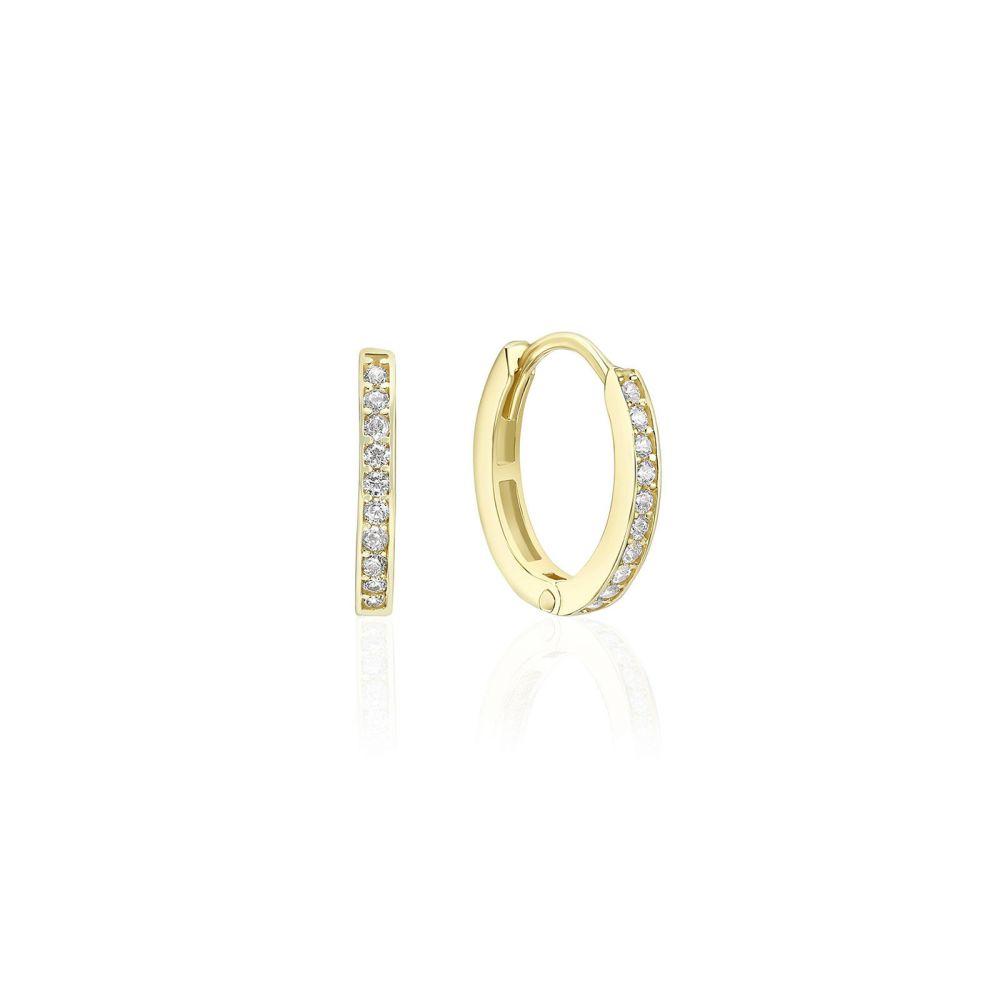 עגילי זהב | עגילי חישוק מזהב צהוב 14 קראט - אן