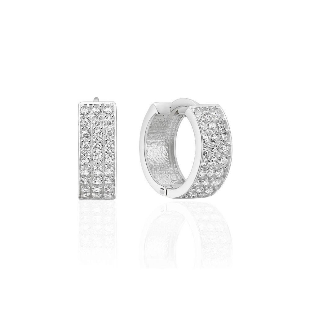עגילי זהב | עגילי חישוק מזהב לבן 14 קראט - קלייר