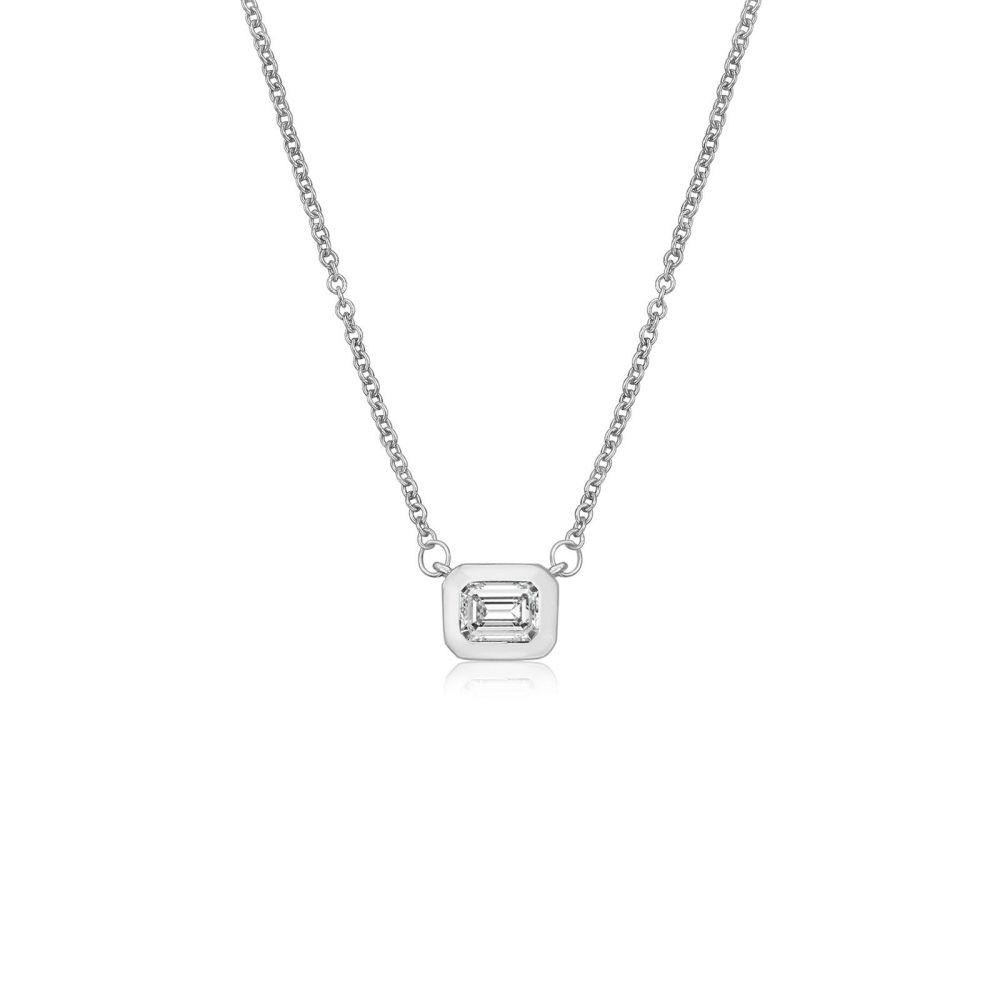 תכשיטי זהב לנשים   תליון ושרשרת יהלומים מזהב לבן 14 קראט - אוריון