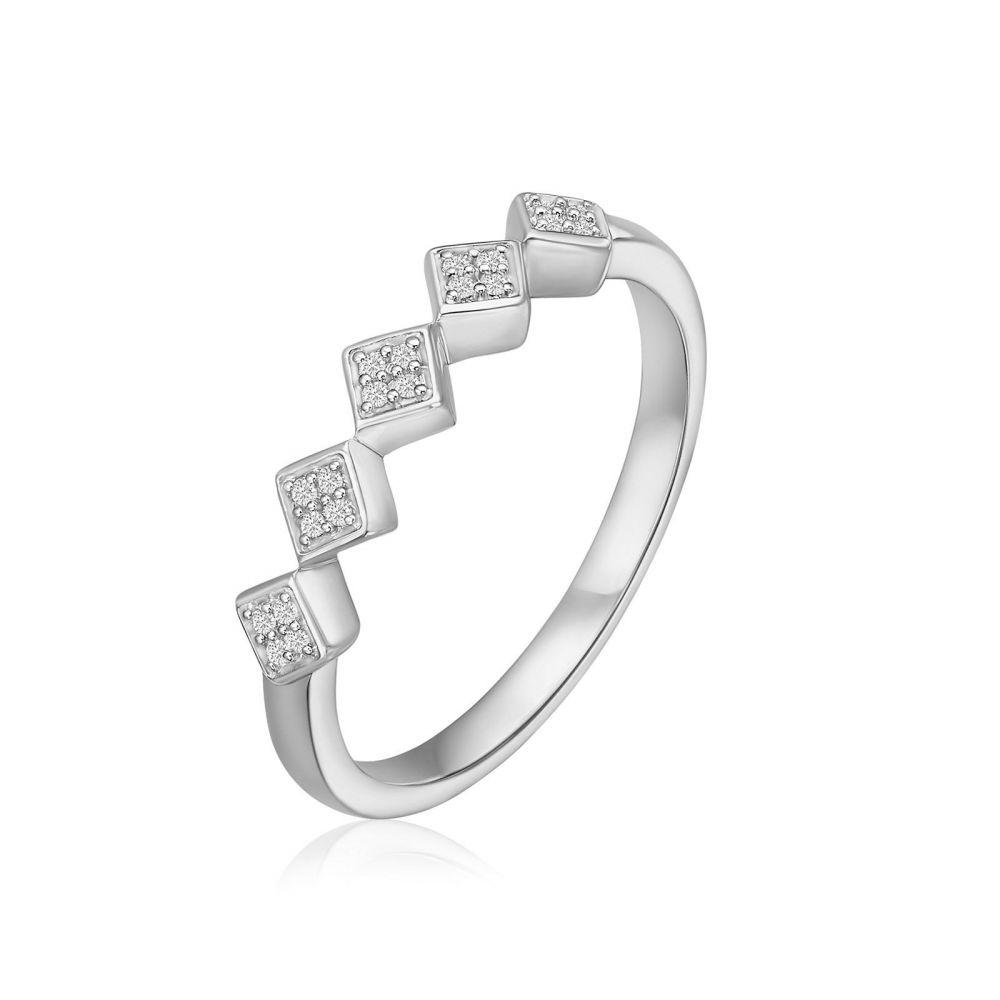 תכשיטי יהלומים | טבעת יהלומים מזהב לבן 14 קראט - רייבן