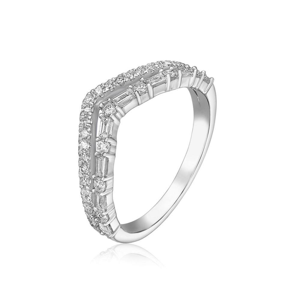 תכשיטי יהלומים | טבעת יהלומים מזהב לבן 14 קראט - קייט
