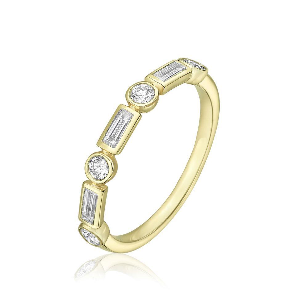 תכשיטי יהלומים   טבעת יהלומים מזהב צהוב 14 קראט - רנה