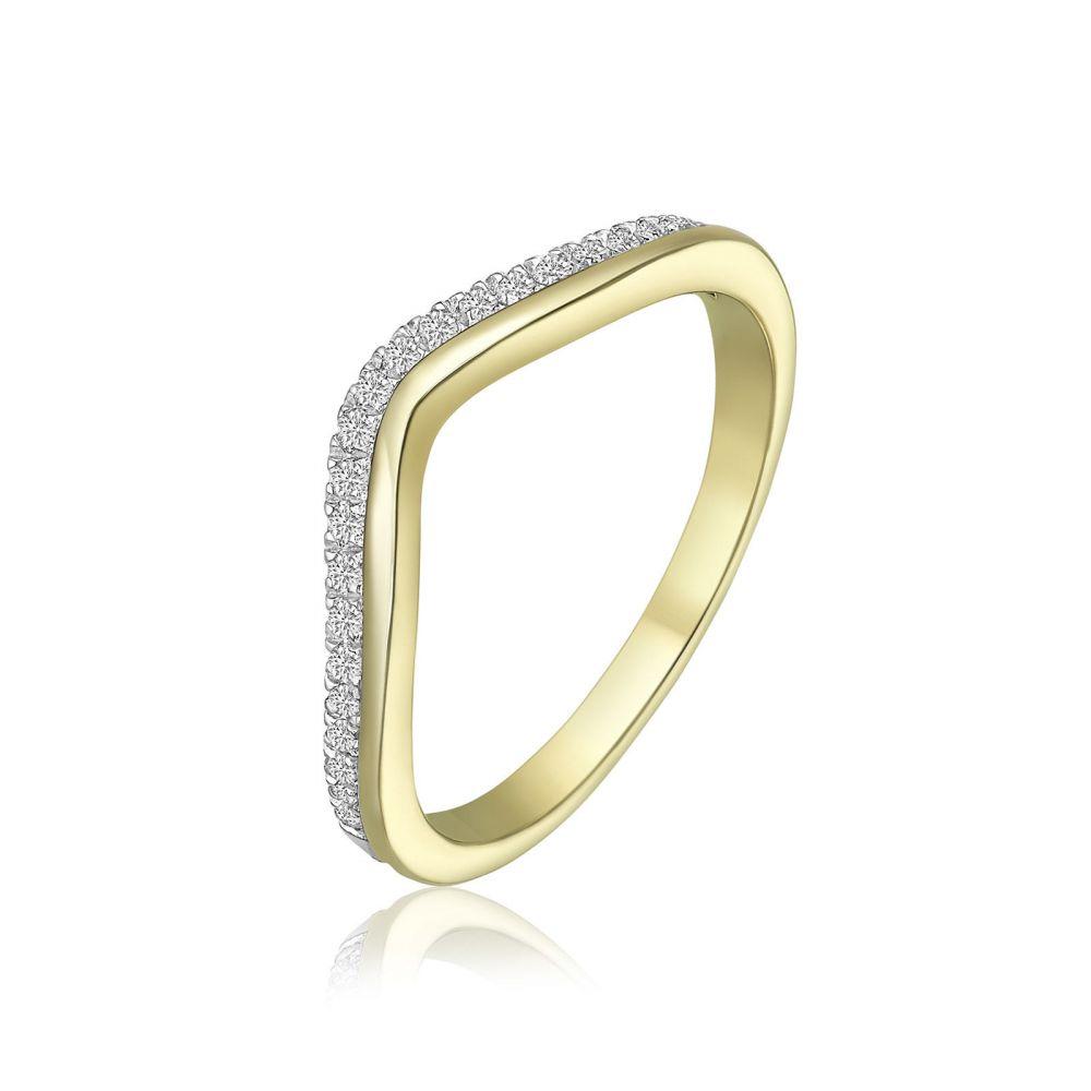 תכשיטי יהלומים | טבעת יהלומים מזהב צהוב 14 קראט - לורי