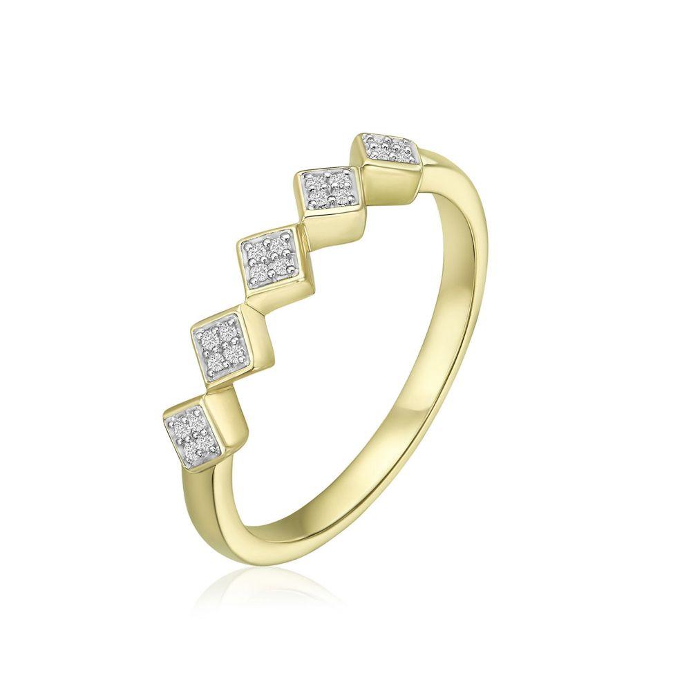 תכשיטי יהלומים   טבעת יהלומים מזהב צהוב 14 קראט - רייבן