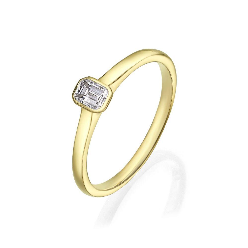 תכשיטי יהלומים   טבעת יהלומים מזהב צהוב 14 קראט - סקיי