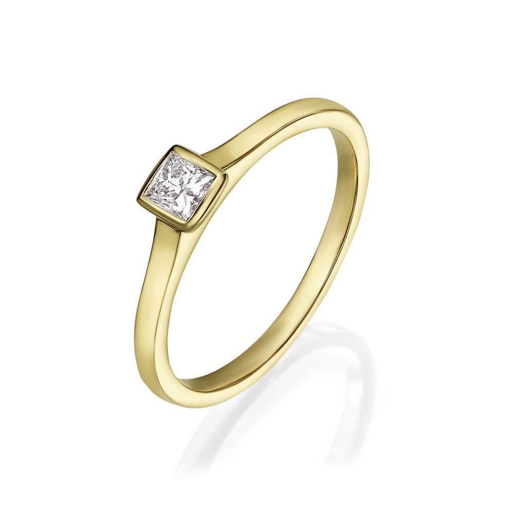 תכשיטי יהלומים | טבעת יהלומים מזהב צהוב 14 קראט - קאיה