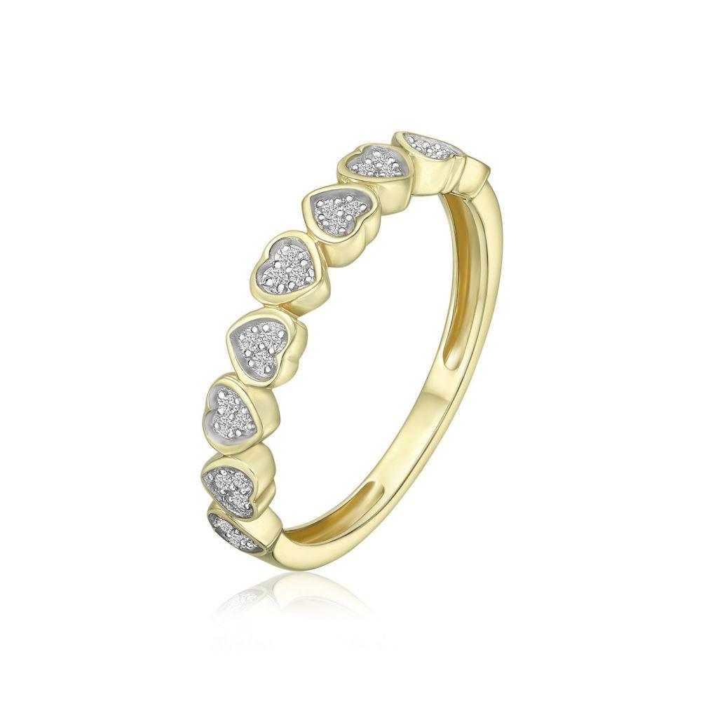 תכשיטי יהלומים   טבעת יהלומים מזהב צהוב 14 קראט - לבבות  ניקה