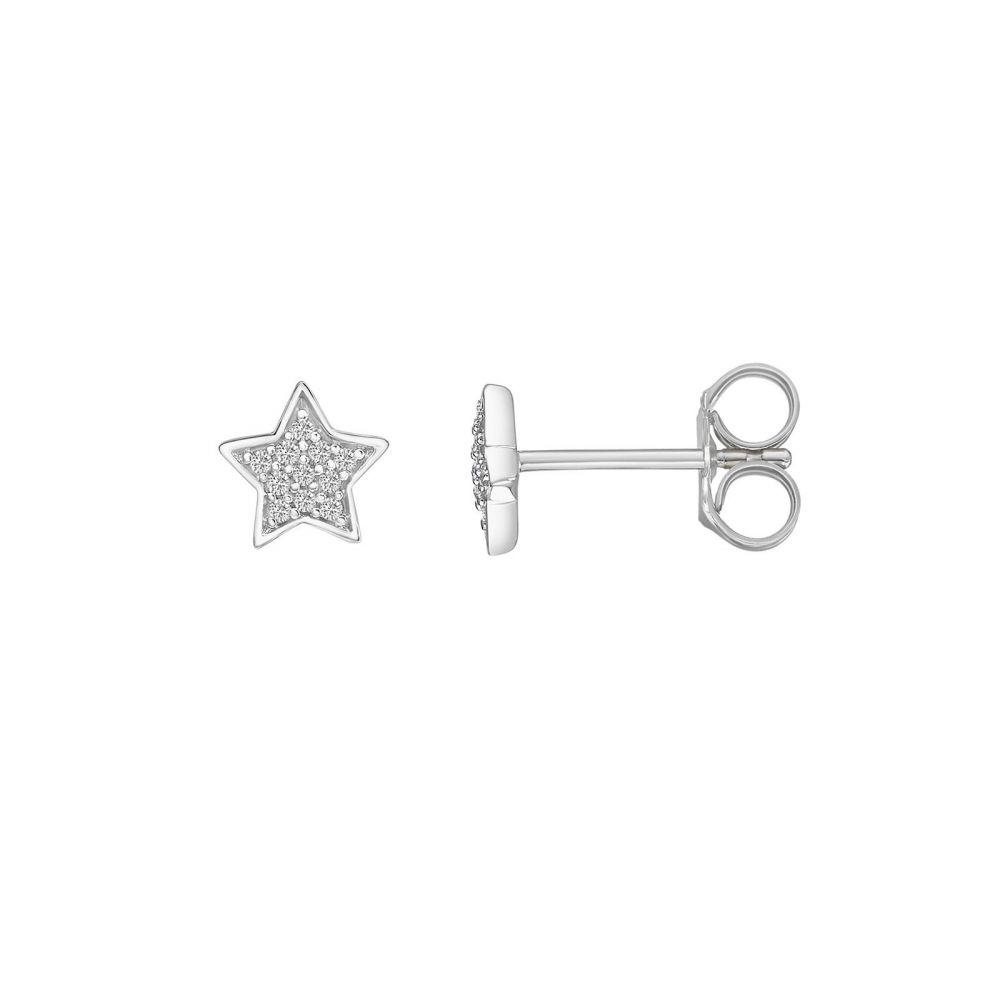 תכשיטי יהלומים   עגילי יהלומים צמודים מזהב לבן 14 קראט - כוכב המשאלות