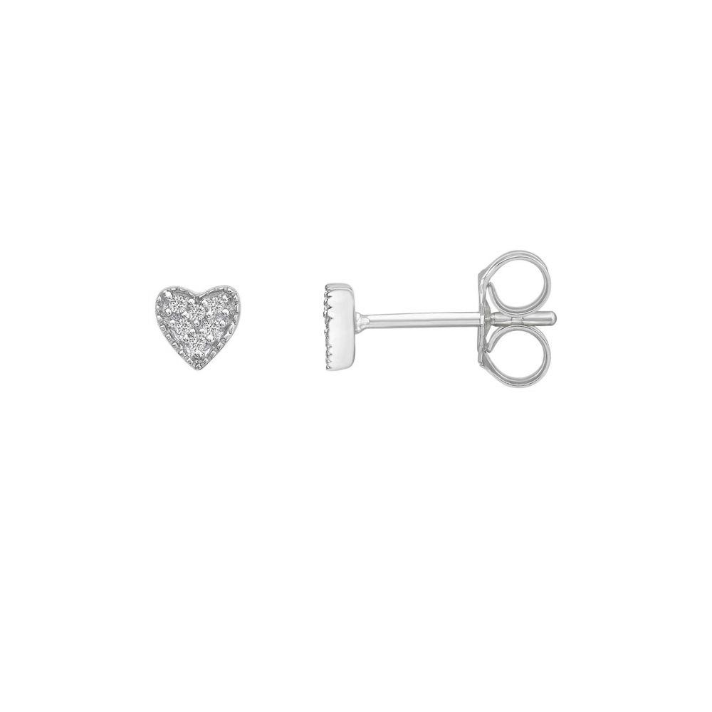 תכשיטי יהלומים | עגילי יהלומים צמודים מזהב לבן 14 קראט - לב קלי