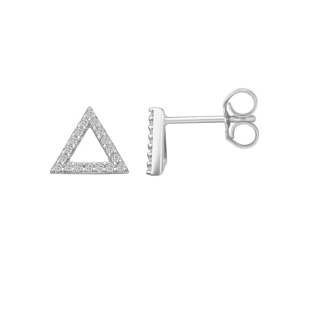 תכשיטי יהלומים | עגילי יהלומים צמודים מזהב לבן 14 קראט -  משולש אולימפוס