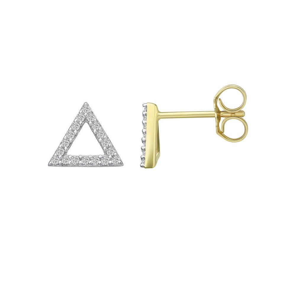 תכשיטי יהלומים | עגילי יהלומים צמודים מזהב צהוב 14 קראט - משולש אולימפוס