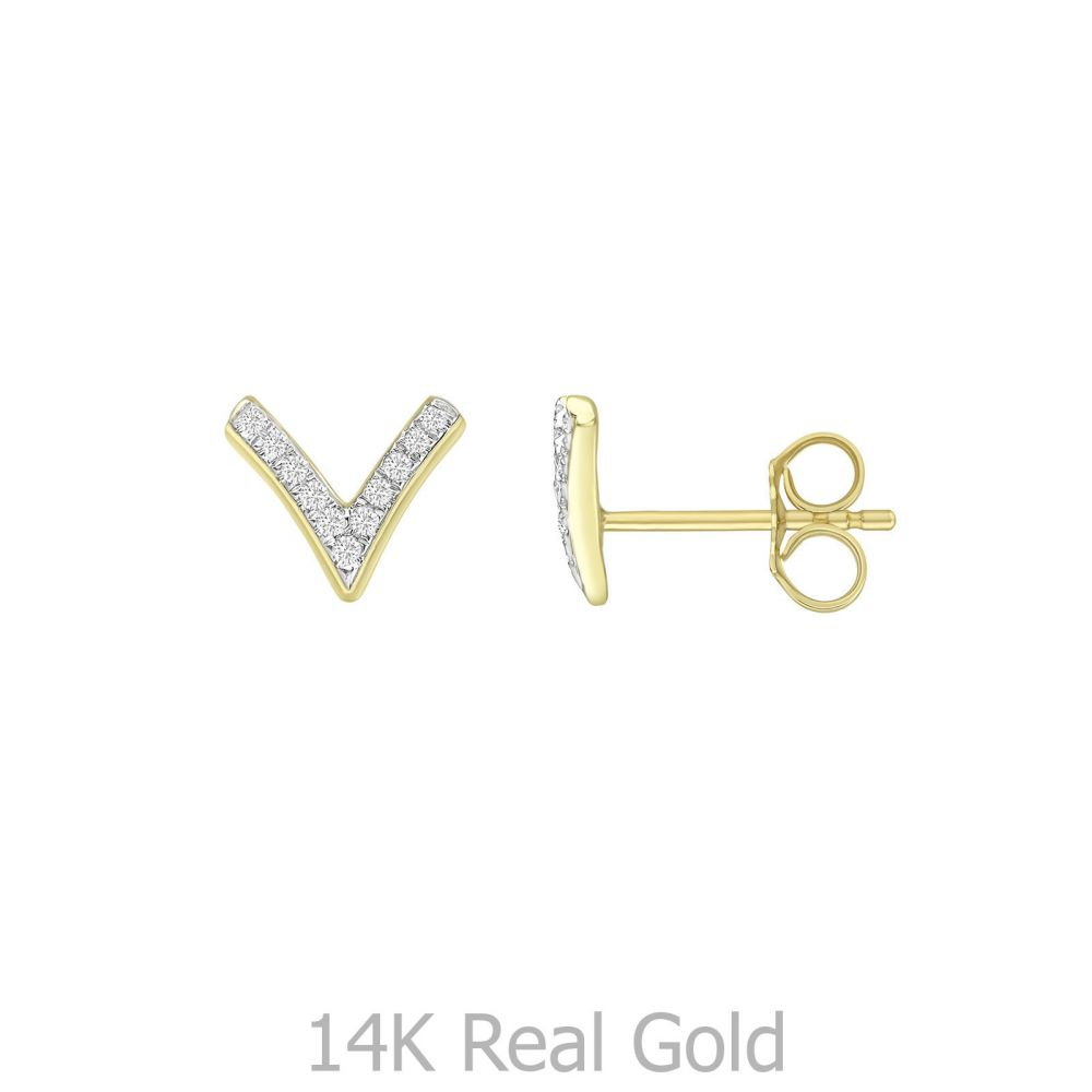 תכשיטי יהלומים | עגילי יהלומים צמודים מזהב צהוב 14 קראט - וי יהלומים