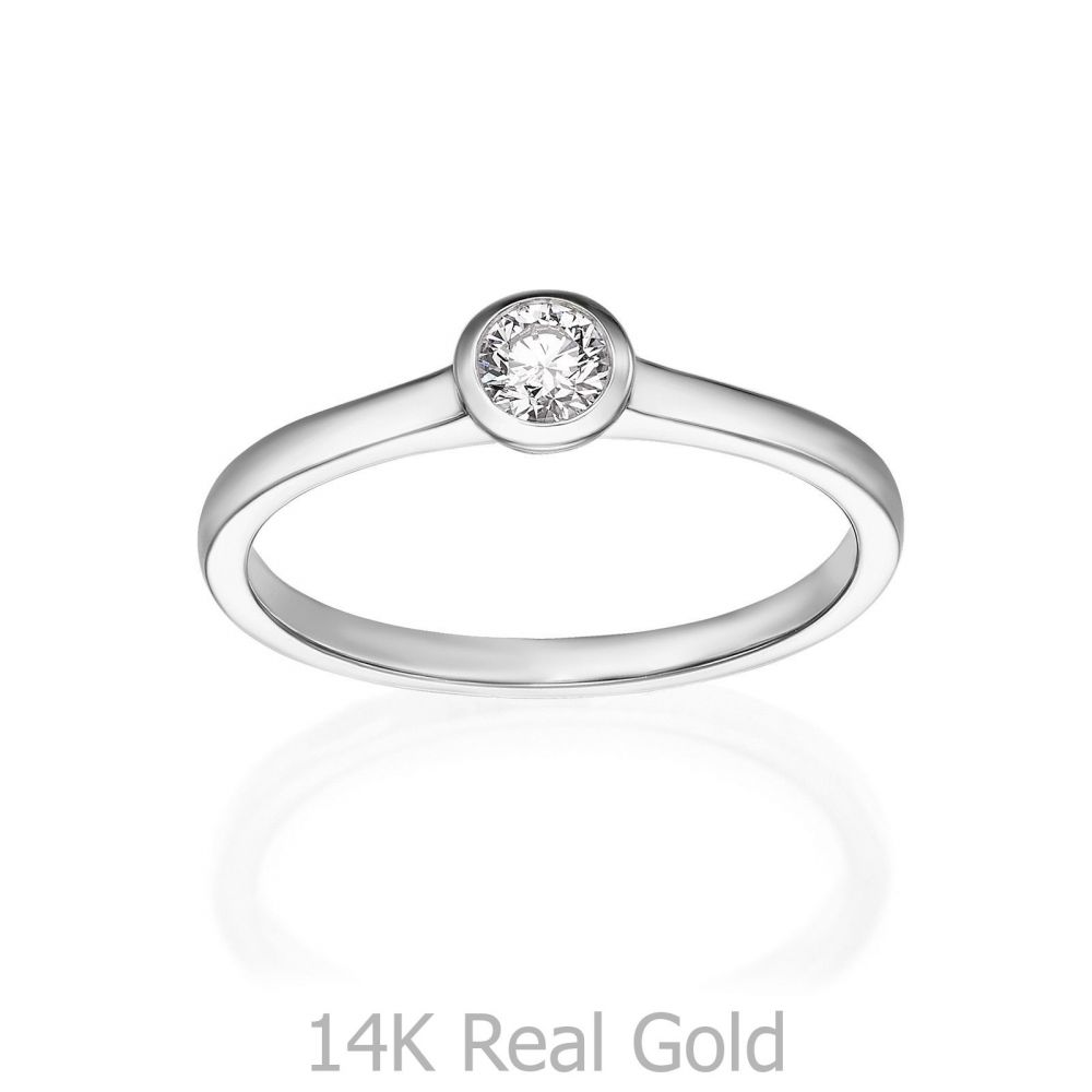 תכשיטי יהלומים | טבעת יהלומים מזהב לבן 14 קראט - מון