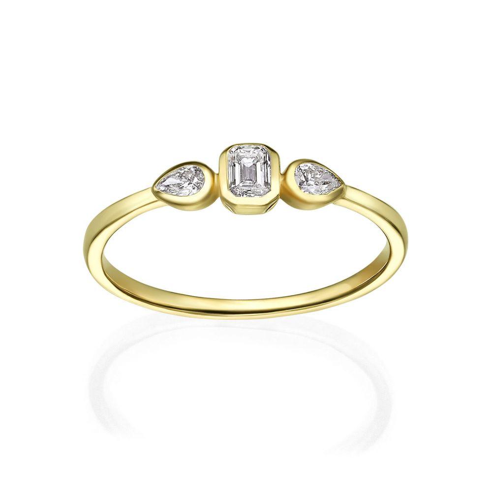 תכשיטי יהלומים   טבעת יהלומים מזהב צהוב 14 קראט - ביאנקה