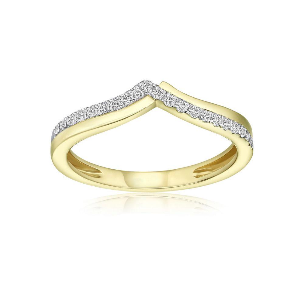 תכשיטי יהלומים | טבעת יהלומים מזהב צהוב 14 קראט - שייה