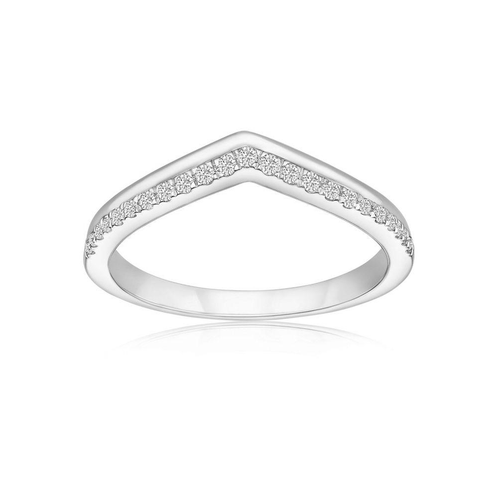תכשיטי יהלומים | טבעת יהלומים מזהב לבן 14 קראט - ריילי