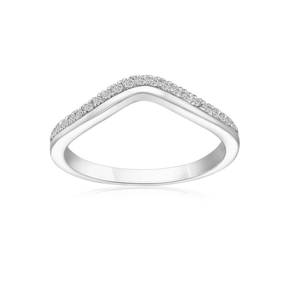 תכשיטי יהלומים   טבעת יהלומים מזהב לבן 14 קראט - לורי