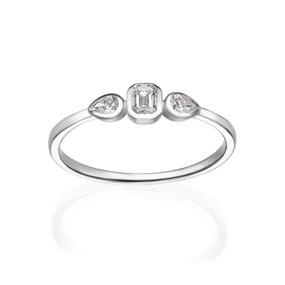 תכשיטי יהלומים   טבעת יהלומים מזהב לבן 14 קראט - ביאנקה
