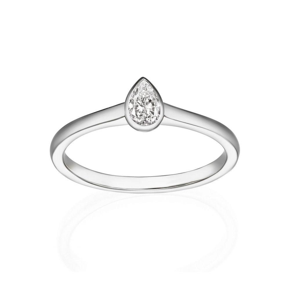 תכשיטי יהלומים   טבעת יהלום טיפה מזהב לבן 14 קראט - טיפה