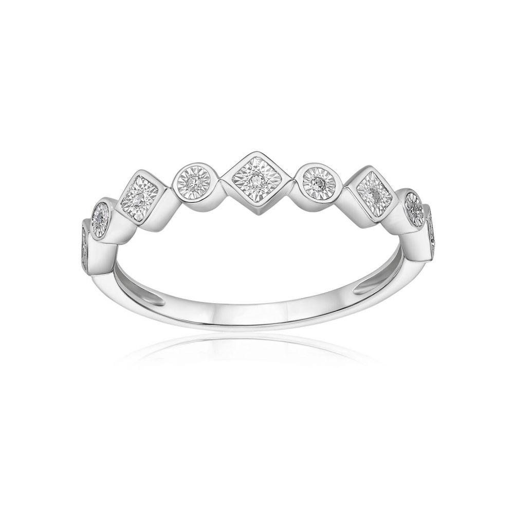 תכשיטי יהלומים   טבעת יהלומים מזהב לבן 14 קראט - סקרלט