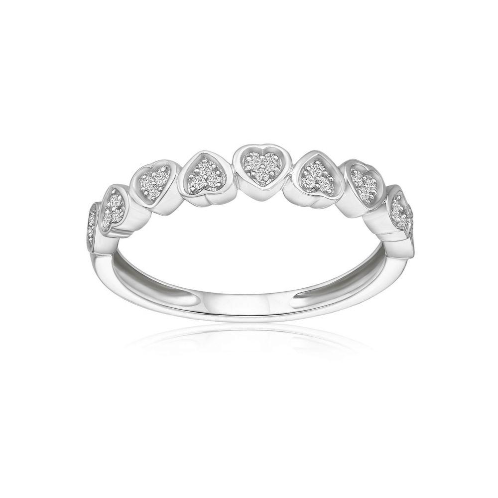 תכשיטי יהלומים | טבעת יהלומים מזהב לבן 14 קראט - לבבות  ניקה
