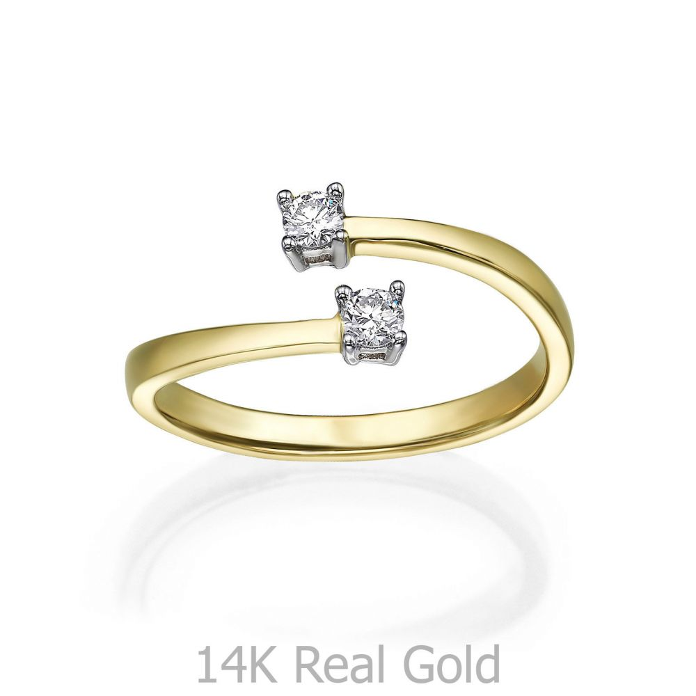 תכשיטי יהלומים | טבעת יהלומים מזהב צהוב 14 קראט - ריי