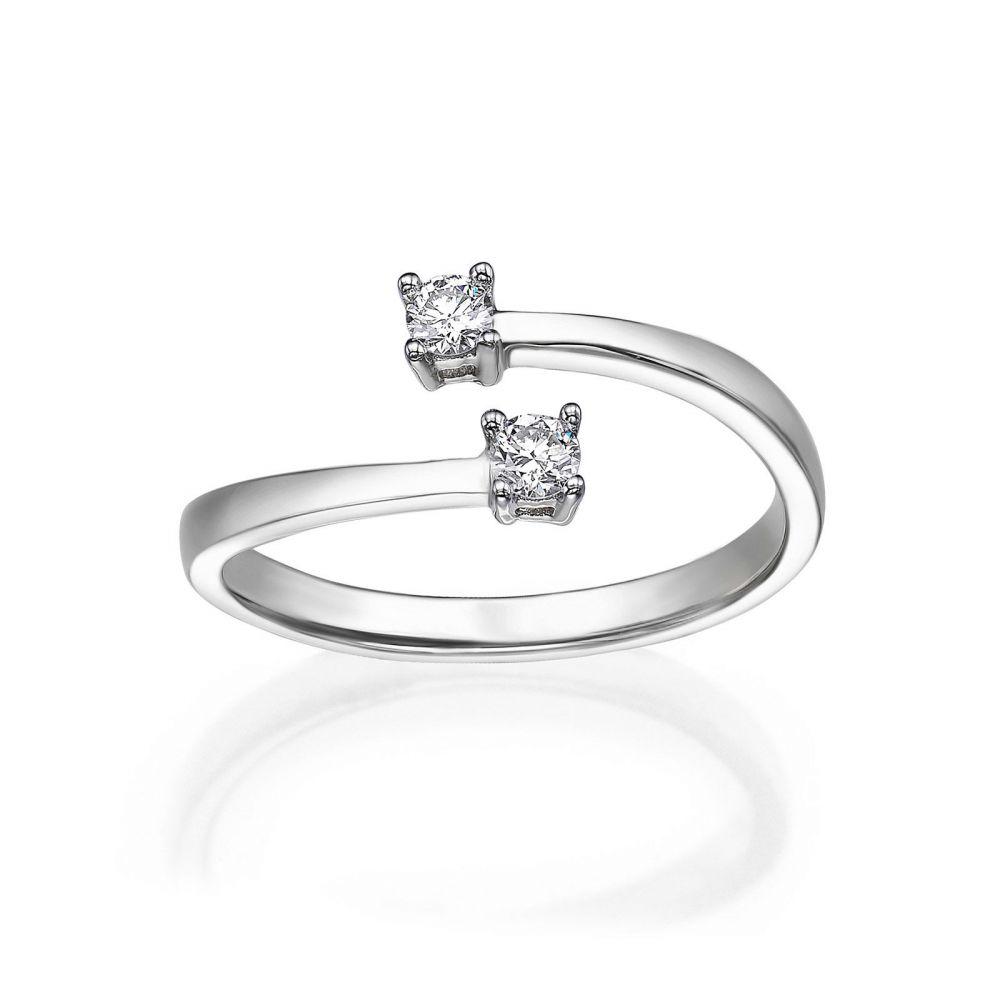 תכשיטי יהלומים | טבעת יהלומים מזהב לבן 14 קראט - ריי