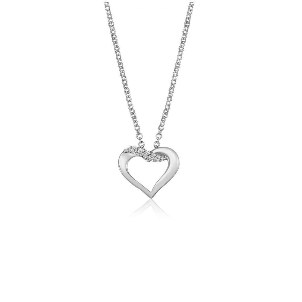 תכשיטי זהב לנשים   תליון ושרשרת יהלומים מזהב לבן 14 קראט - לב נאיה