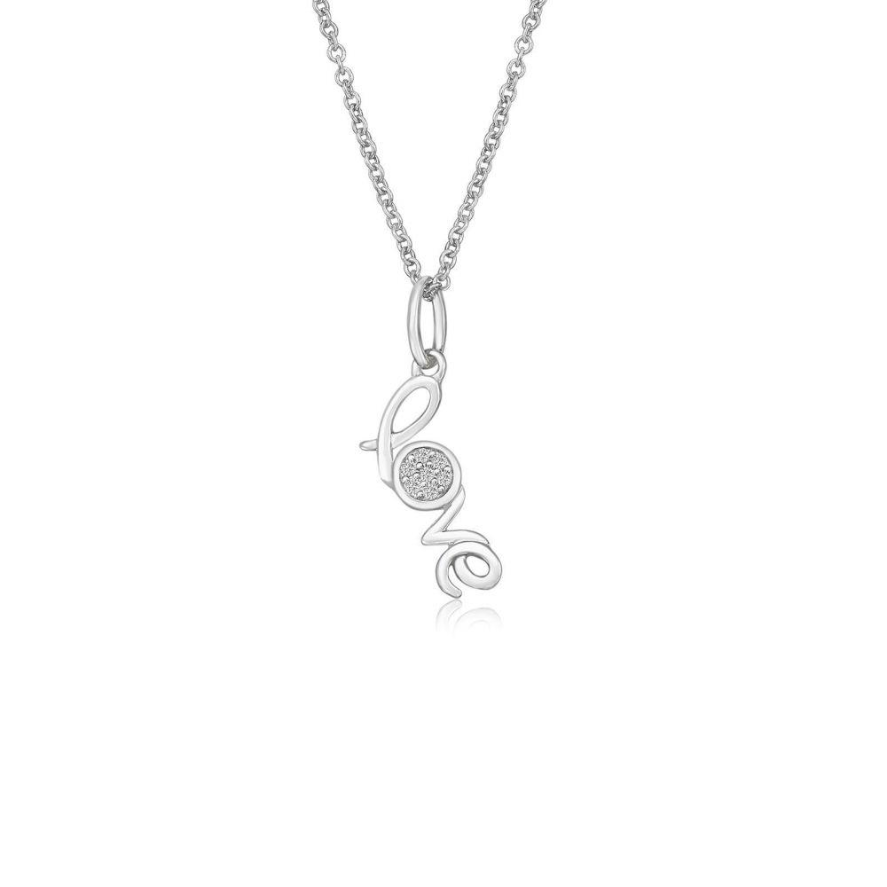תכשיטי זהב לנשים   תליון ושרשרת יהלומים מזהב לבן 14 קראט -  Love