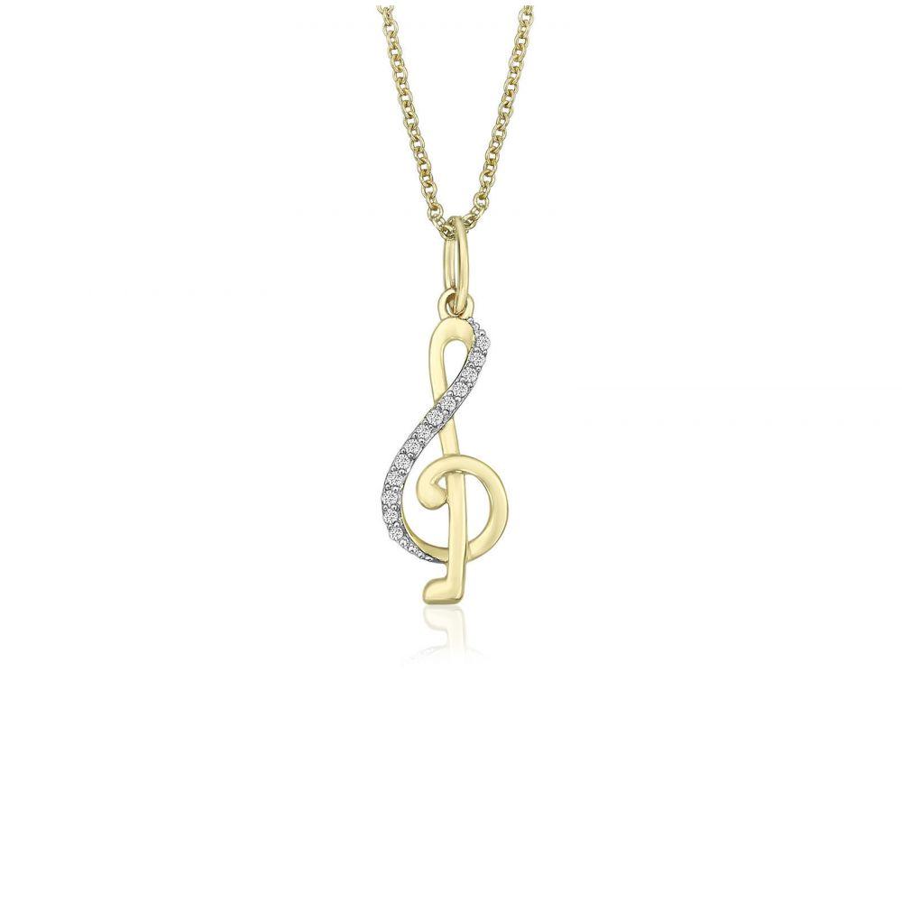 תכשיטי זהב לנשים   תליון ושרשרת יהלומים מזהב צהוב 14 קראט -  מפתח סול