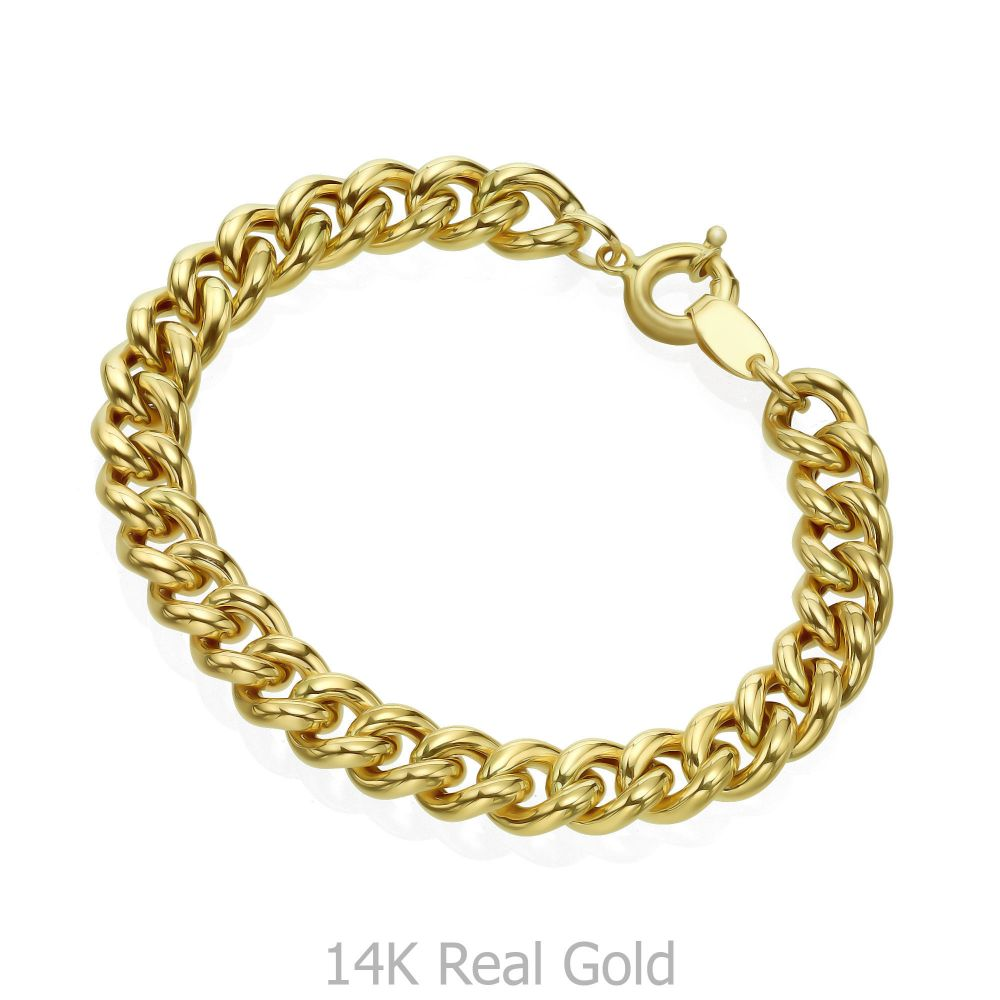 תכשיטי זהב לנשים | צמיד לאישה מזהב צהוב 14 קראט - חוליות עבה