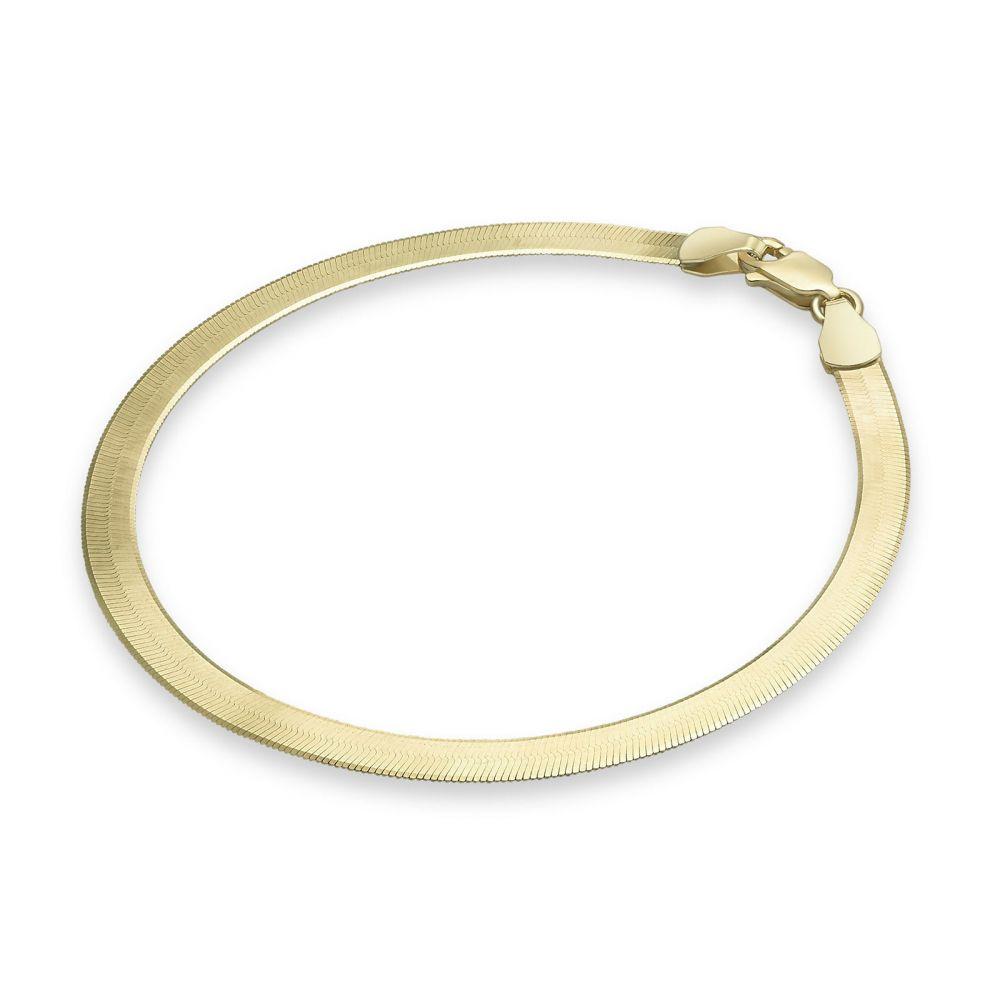 תכשיטי זהב לנשים | צמיד לאישה מזהב צהוב 14 קראט - נחש