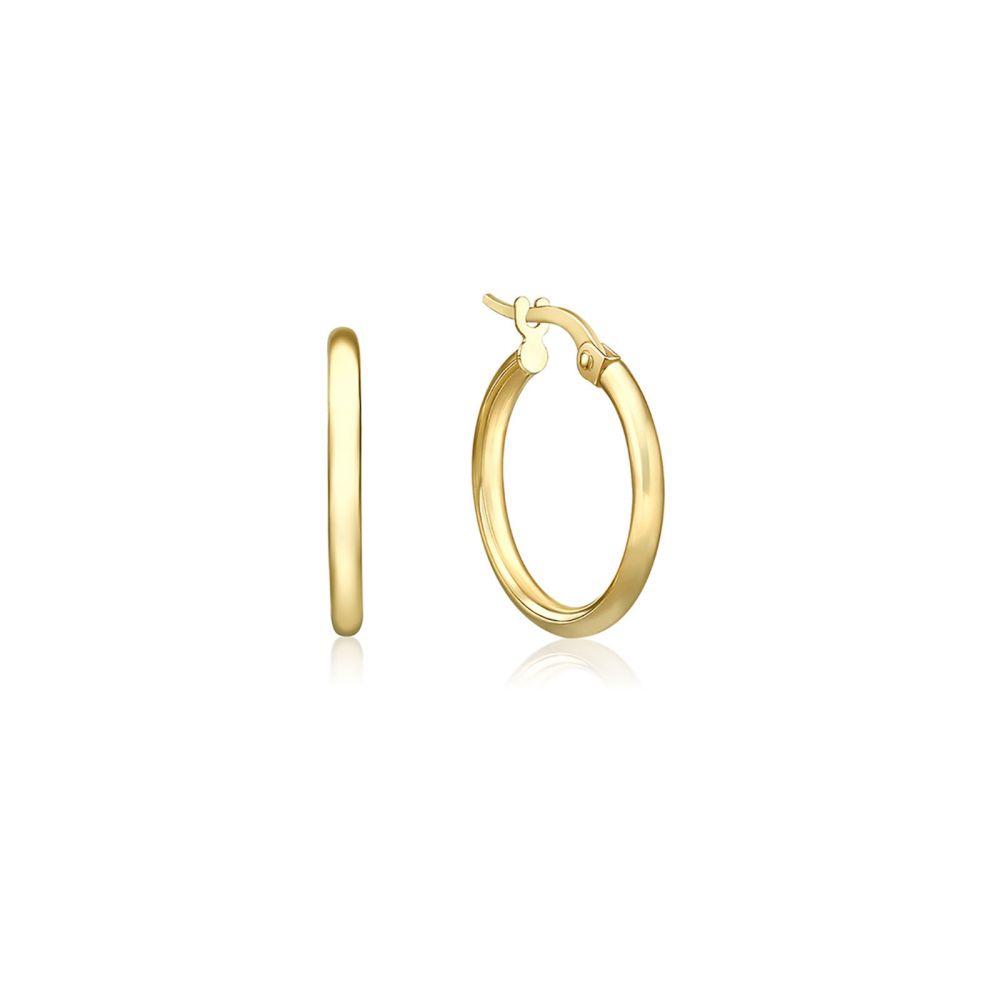 עגילי זהב | עגילי חישוק  מזהב צהוב 14 קראט - S דק