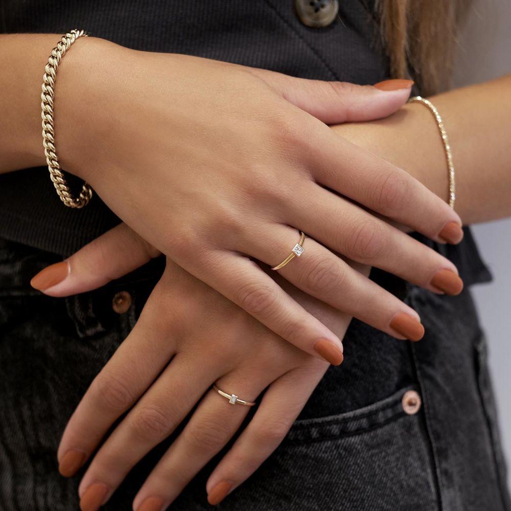 תכשיטי זהב לנשים | צמיד לאישה מזהב צהוב 14 קראט - חוליות M