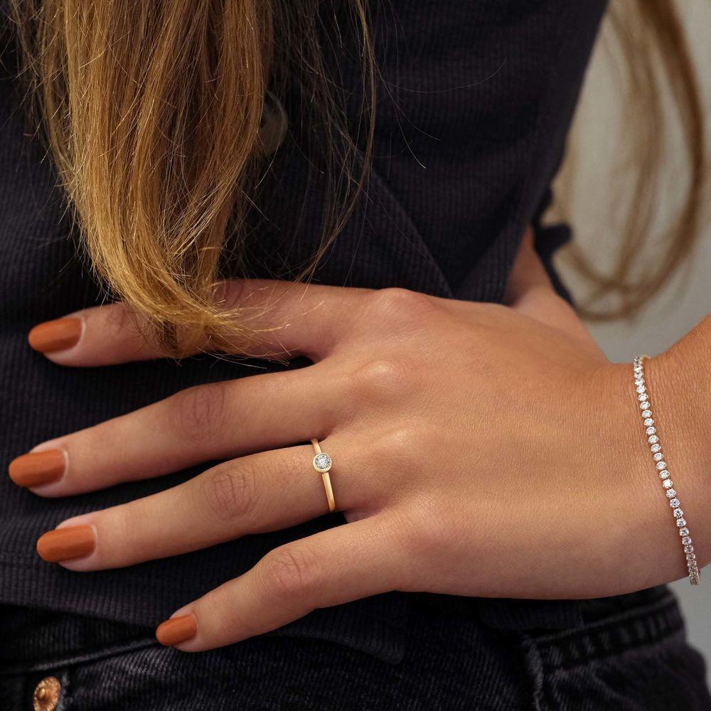 תכשיטי יהלומים   טבעת יהלומים מזהב צהוב 14 קראט - מון