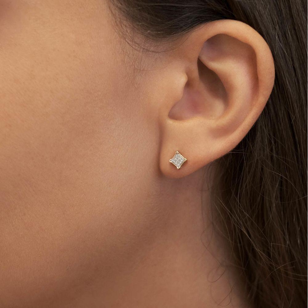 תכשיטי יהלומים | עגילי יהלומים צמודים מזהב לבן 14 קראט - מעוין יהלומים