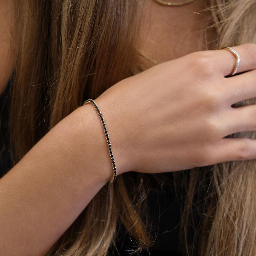 תכשיטי זהב לנשים | צמיד לאישה מזהב צהוב 14 קראט זירקונים שחורים - דנוור