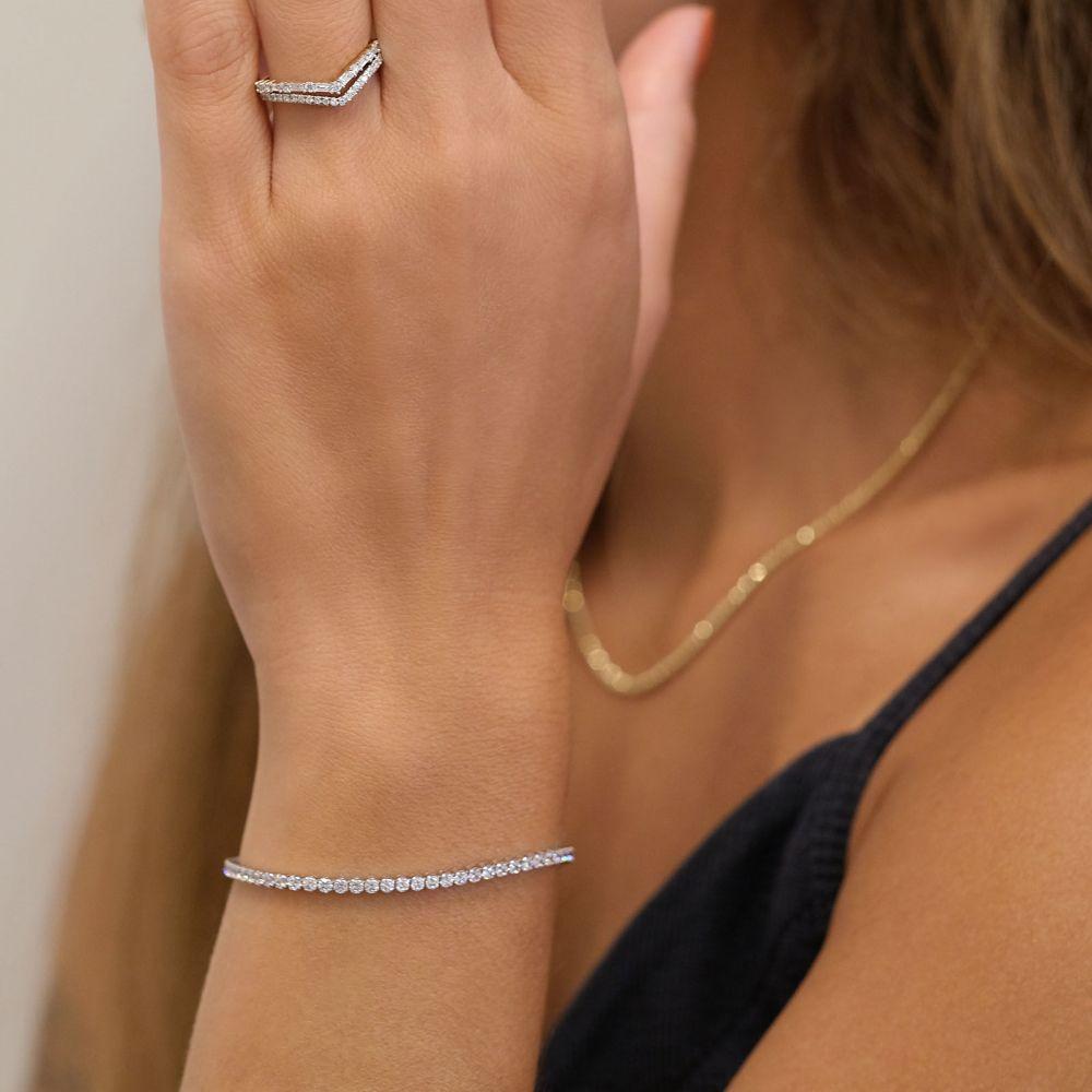 תכשיטי זהב לנשים   צמיד לאישה מזהב לבן  14 קראט - דנוור