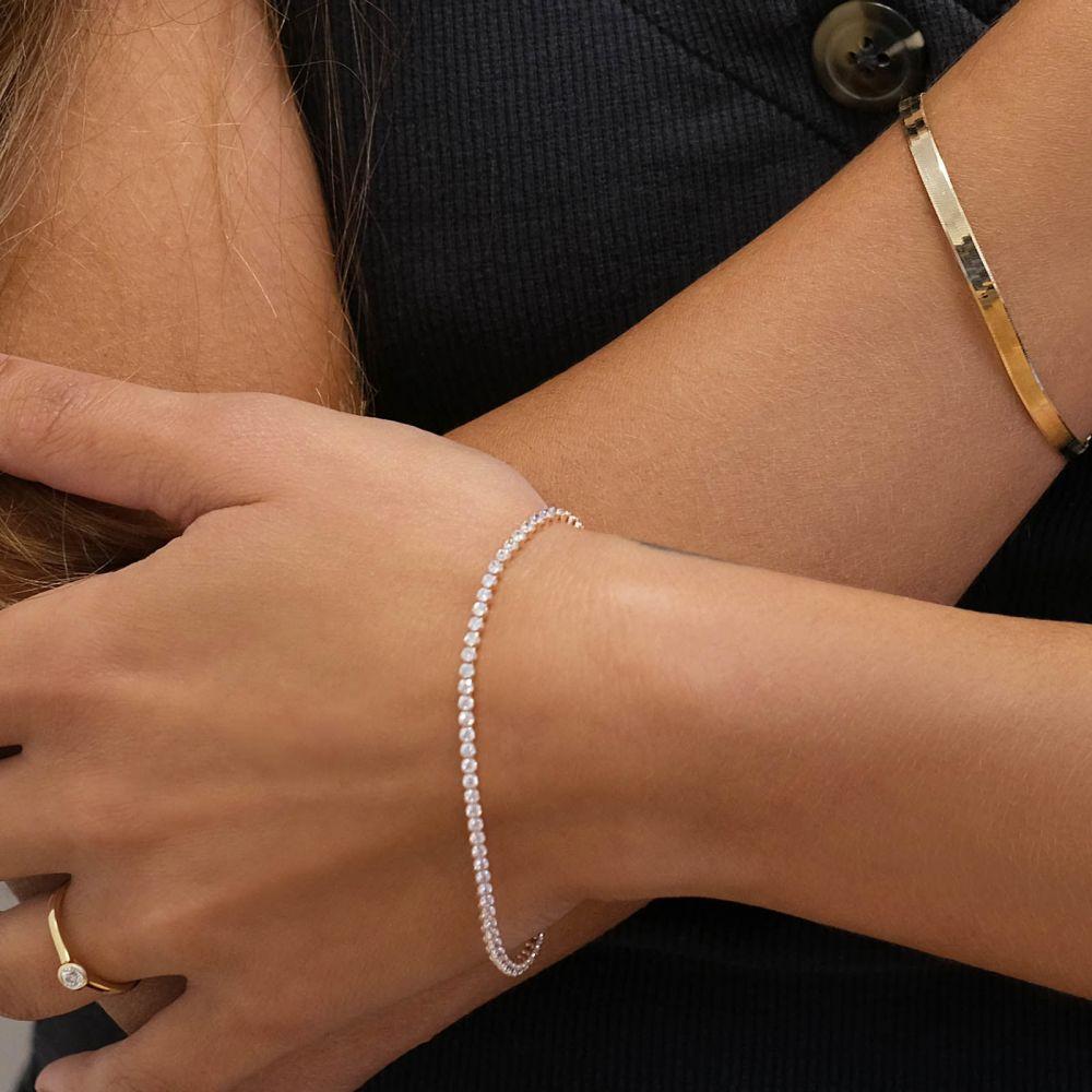 תכשיטי זהב לנשים   צמיד לאישה מזהב ורוד 14 קראט - דנוור
