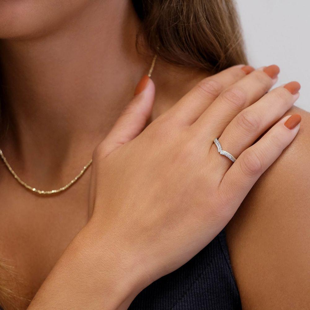 תכשיטי יהלומים | טבעת יהלומים מזהב לבן 14 קראט - שייה