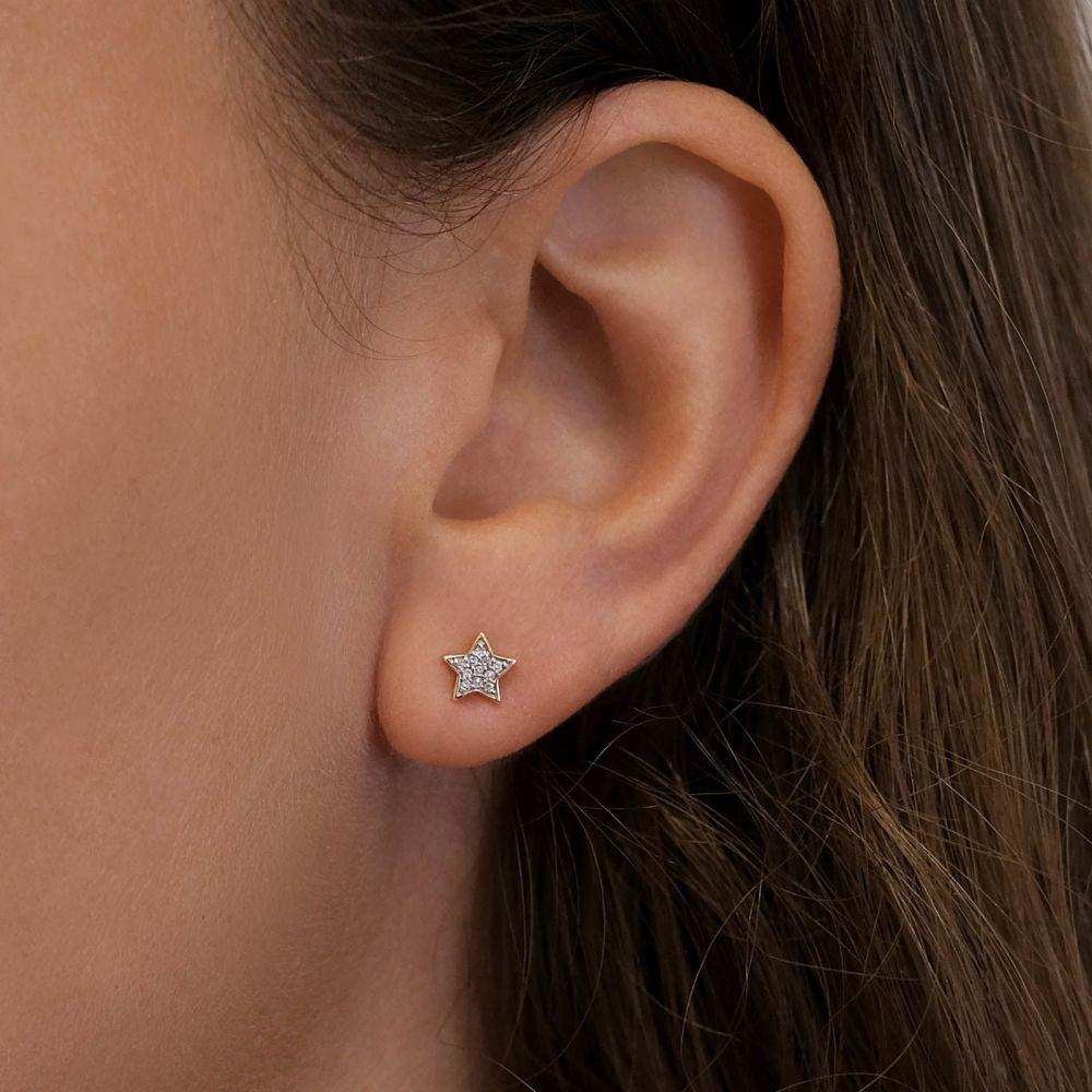 תכשיטי יהלומים   עגילי יהלומים צמודים מזהב צהוב 14 קראט - כוכב המשאלות