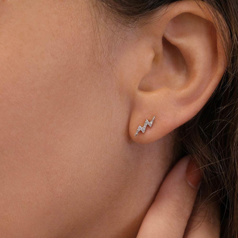 תכשיטי יהלומים | עגילי יהלומים צמודים מזהב לבן 14 קראט - ברק