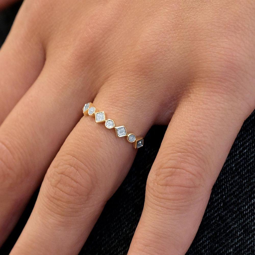 תכשיטי יהלומים | טבעת יהלומים מזהב צהוב 14 קראט - סקרלט