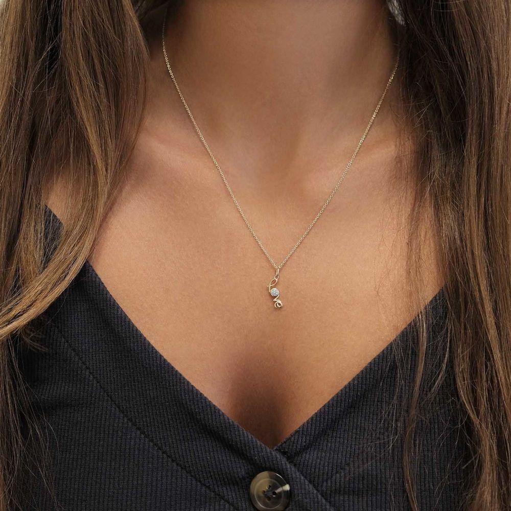תכשיטי זהב לנשים | תליון ושרשרת יהלומים מזהב לבן 14 קראט -  Love