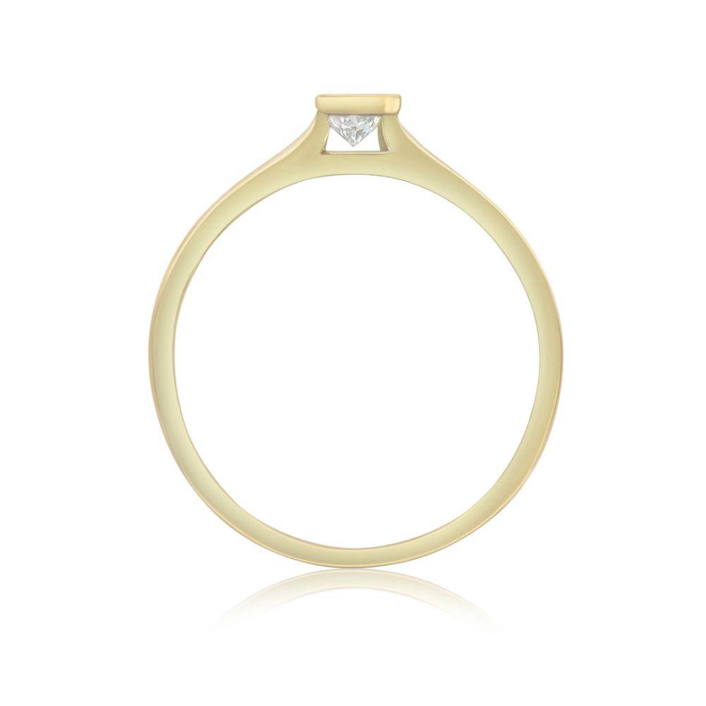 תכשיטי יהלומים   טבעת יהלום טיפה מזהב צהוב 14 קראט - טיפה