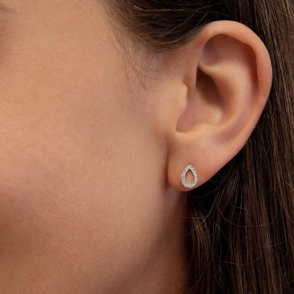 תכשיטי יהלומים | עגילי יהלומים צמודים מזהב לבן 14 קראט -  טיפה מנצנצת