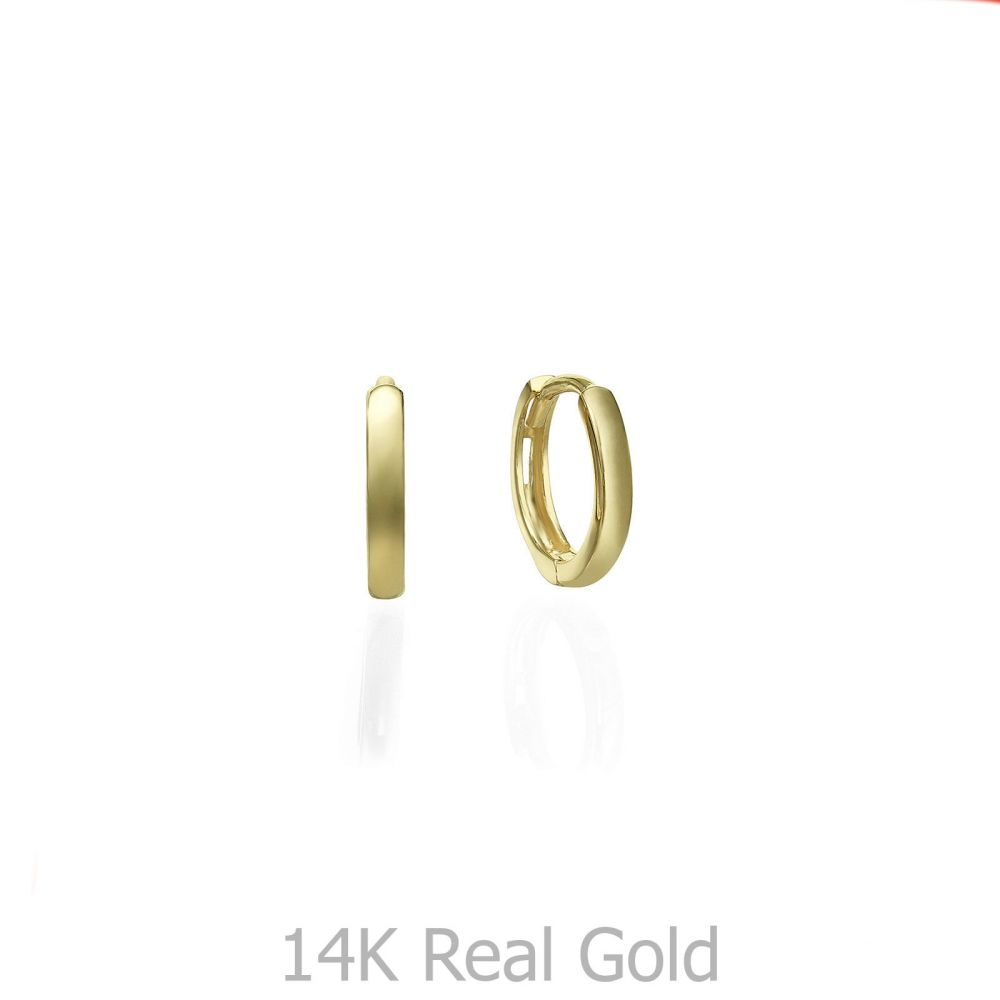 עגילי זהב | עגילי חישוק מזהב צהוב 14 קראט  - חישוקי שר