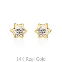 עגילי זהב צמודים -  כוכב מנצנץ