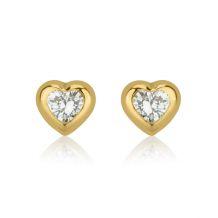 עגילי זהב צמודים -  לב מנצנץ